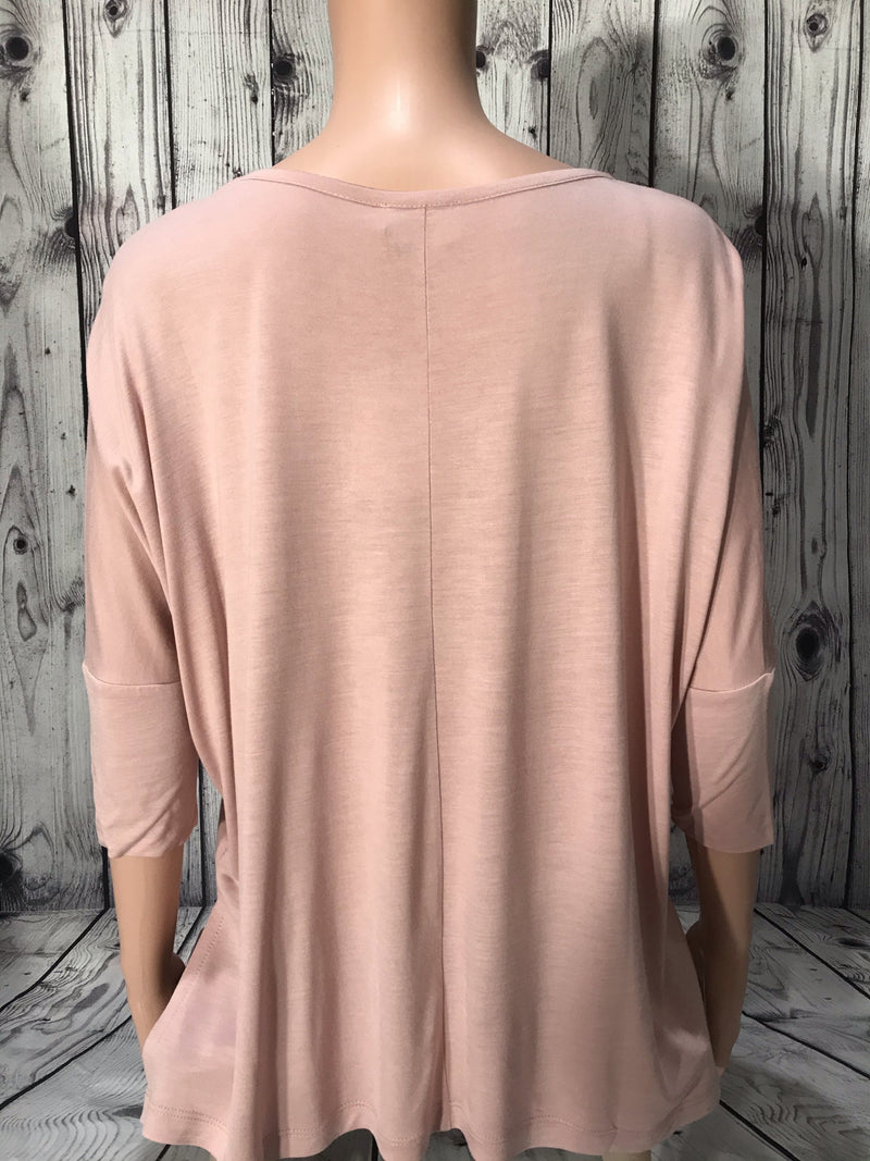 Maevy Ballet Pink 3/4 Sleeve Bamboo Top