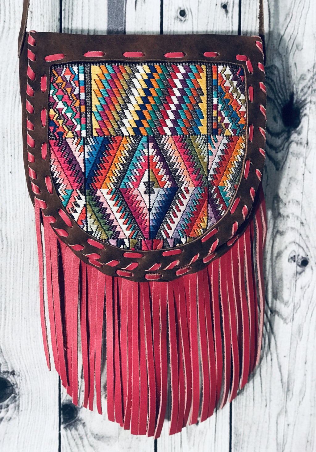 Tribal design hand woven 100% suede fringe cross body