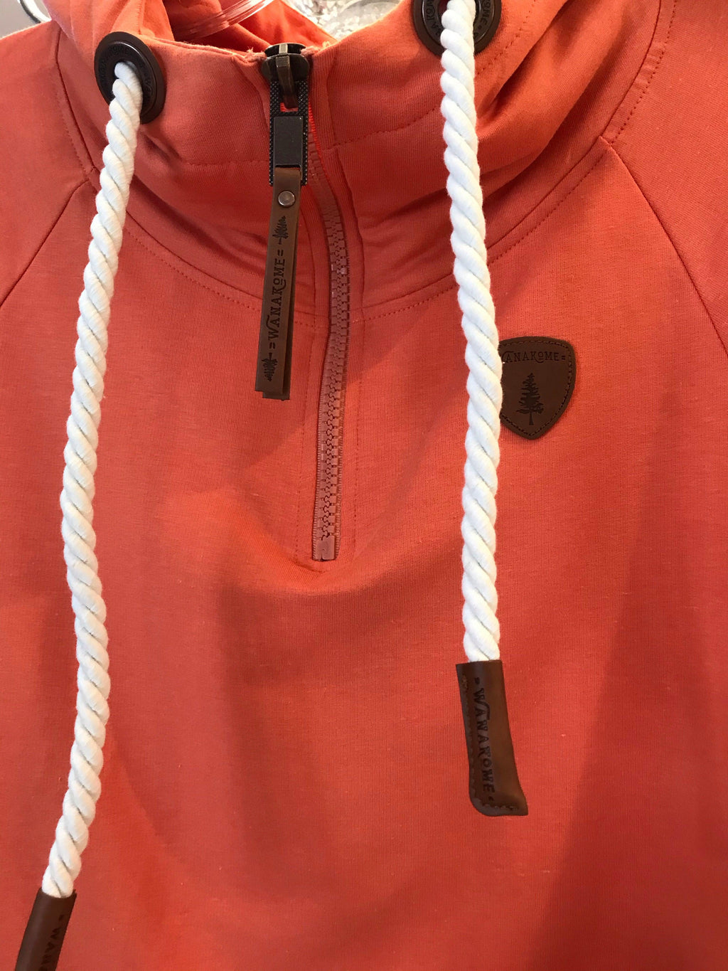 Wanakome pullover with half zip - dusted clay