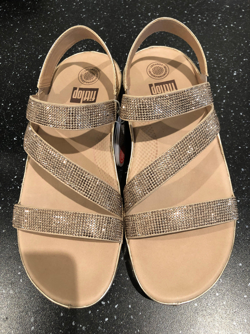 FitFlop Crystal Z Strap Sandal Rose Gold