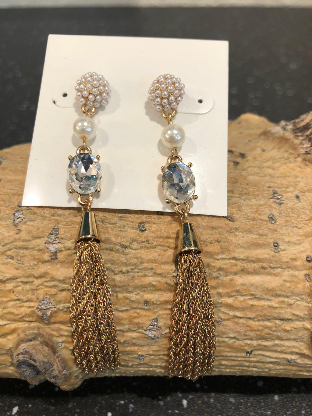 Garbo Post/Pearl Pave Tassle Earrings