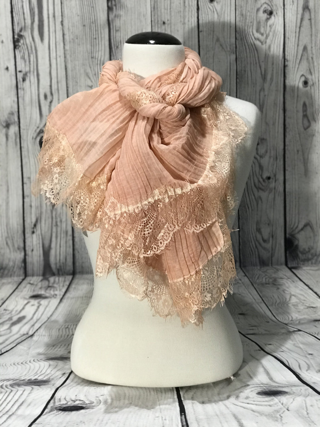 Cream Spring Pink Scarf W/ Raw Edge Lace