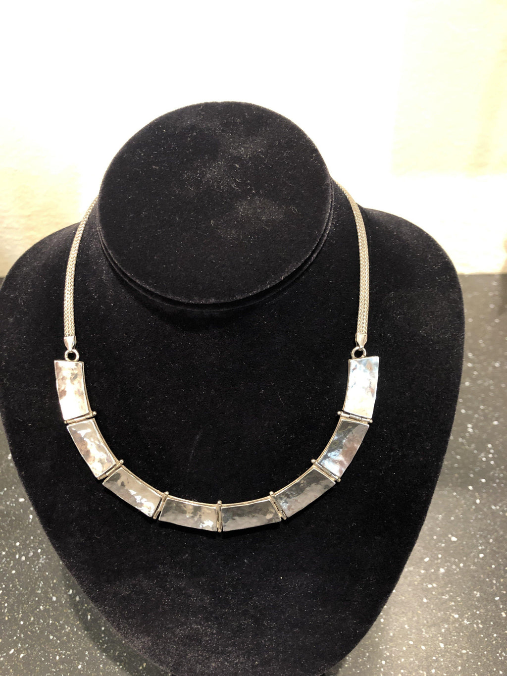 """Silver"" Choker Style Flat Bar Necklace"