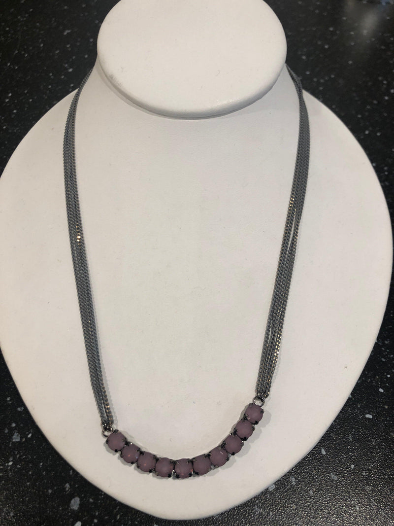 Merx grey four chain necklace with ten light purple stones