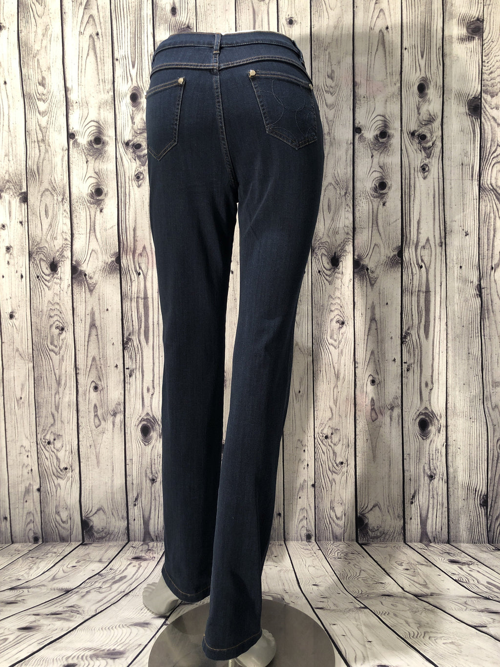 Marble five pocket straight leg blue jeans