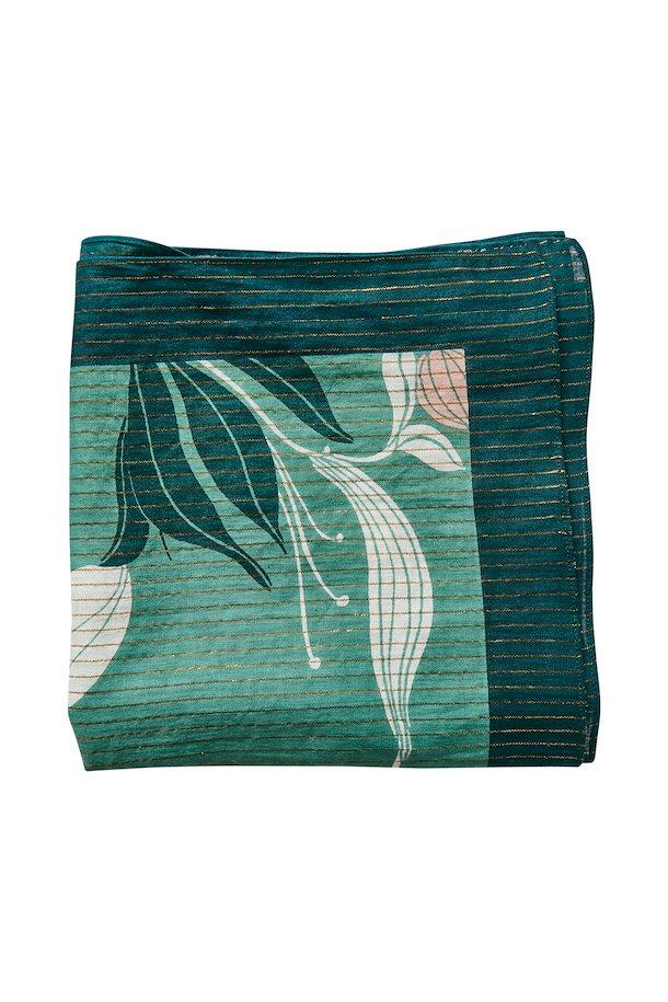 Part Two green Japanese print square scarf