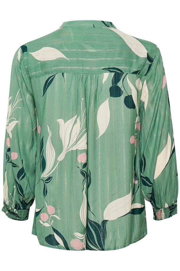 Part Two green Japanese print blouse