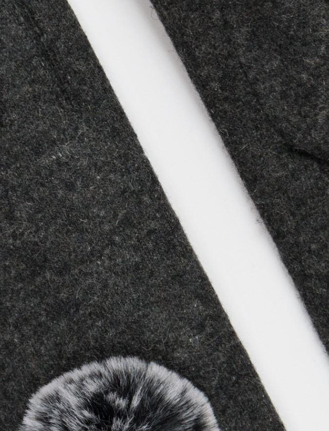 Wool gloves with a faux fur pom-pom - grey