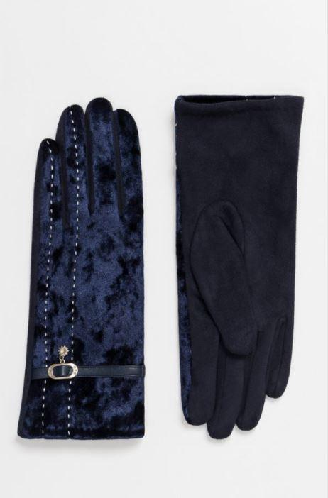 Wool gloves with velvet top layer - black/navy