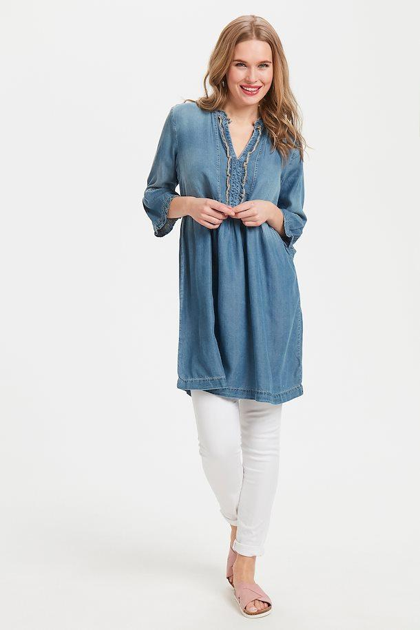 Cream light blue denim dress