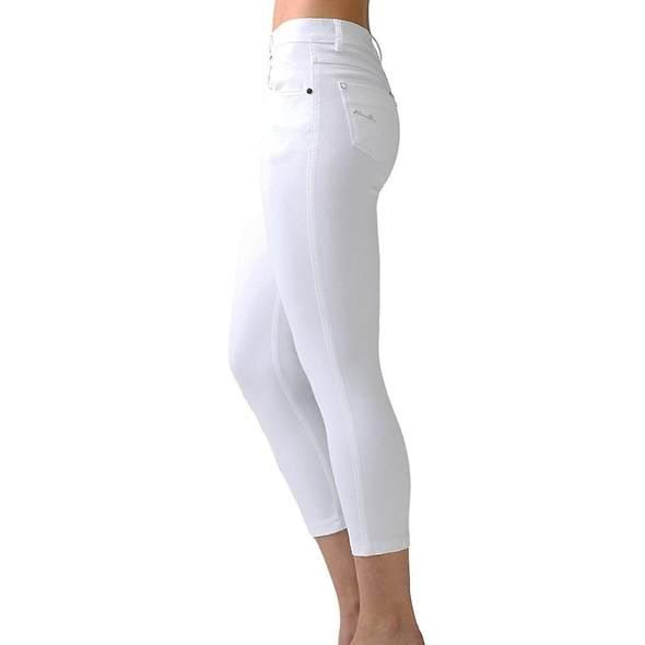 Marble crop jeans white