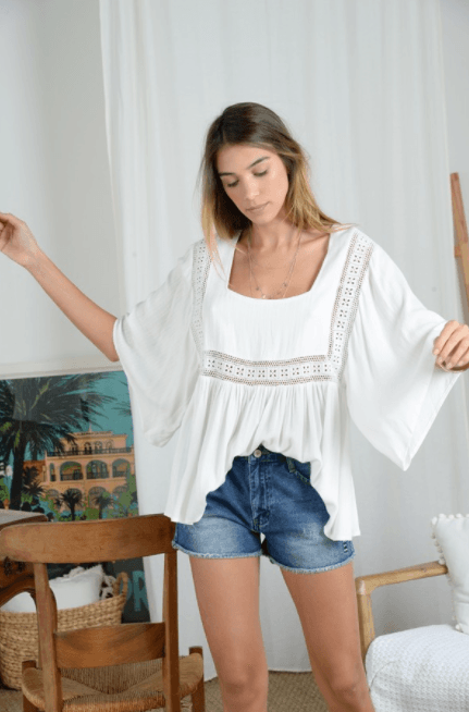 Molly Bracken Batwing Sleeves Blouse - white
