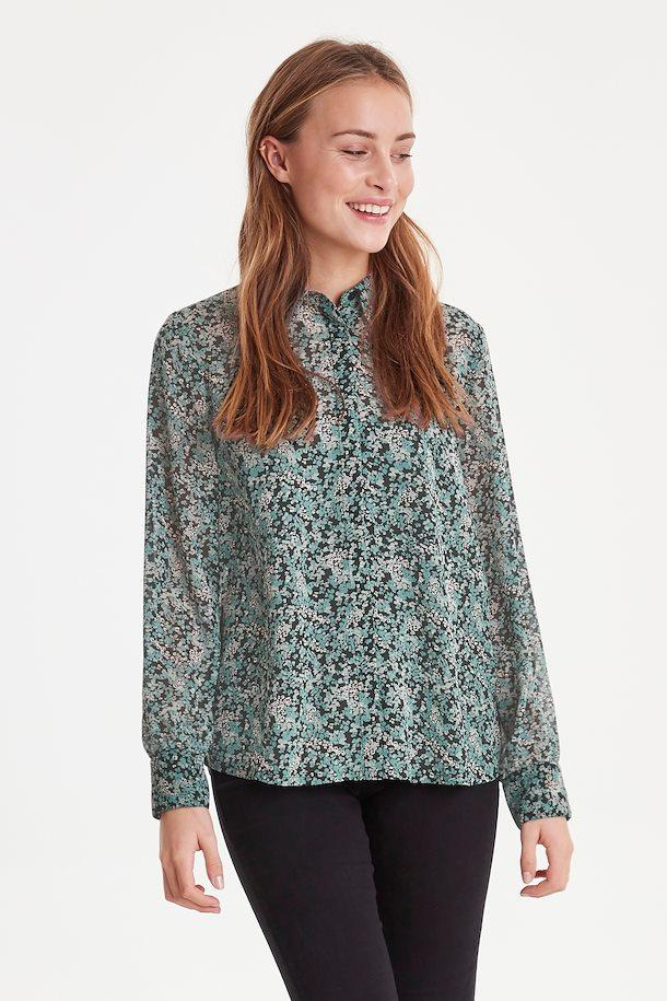 Ichi green floral blouse