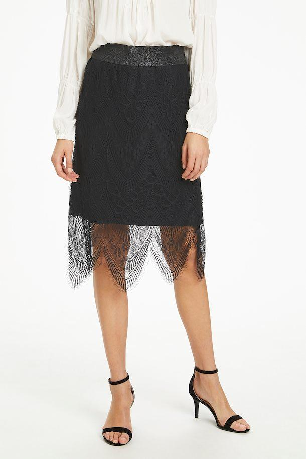 Cream pitch black lace skirt