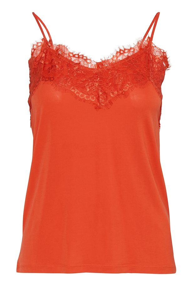 Ichi Summer Fig Top W/ Raw Lace Detail