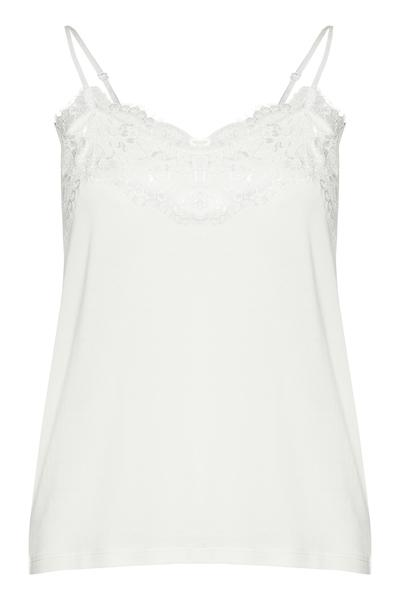 Ichi cloud dancer top with raw lace detail