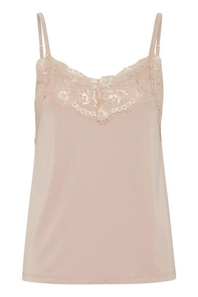 Ichi rose dust top with lace detail