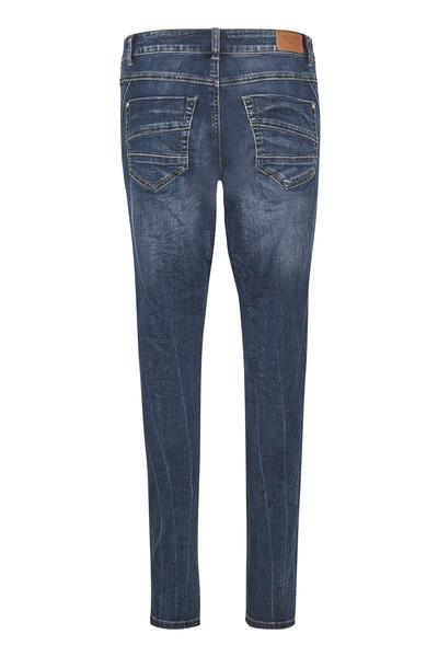 Cream blue denim jeans with navy sequin distressing