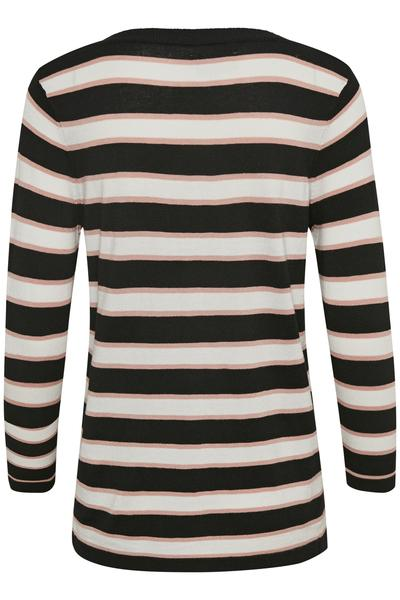 Kaffe black deep striped light weight knit top