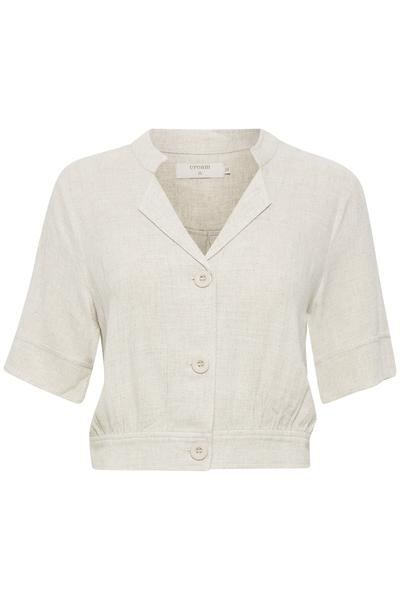 Cream Oat Melange Button Bolero