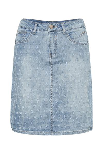 Cream blue denim jean skirt