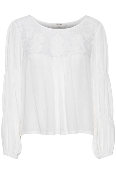 Cream Off White Blouse W/ Crochet & Lace Detail