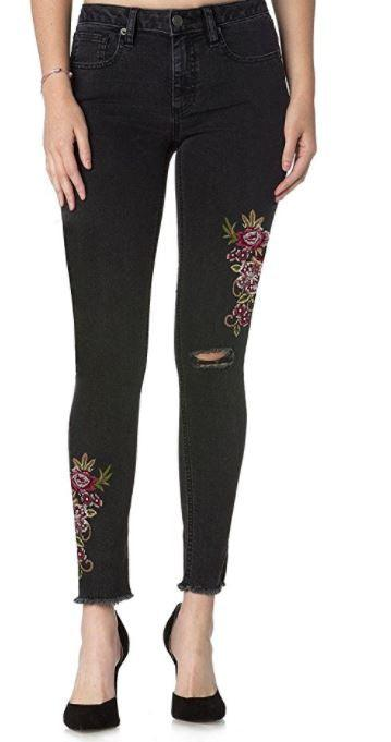Miss Me black skinny jeans with floral and sequence detail