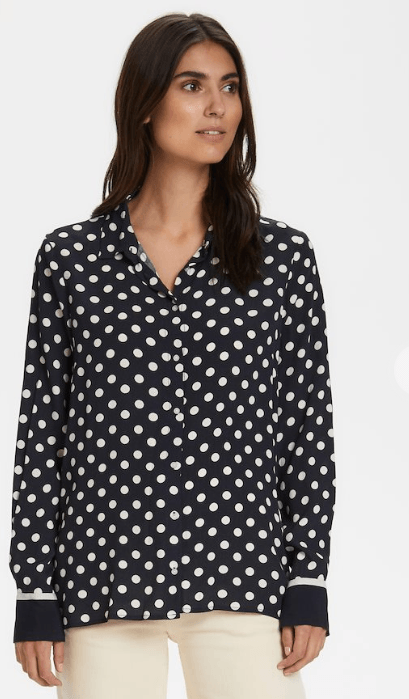 Part Two polka dot blouse - dark navy