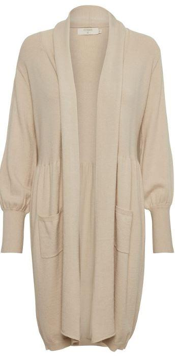 Cream light beige knitted cardigan