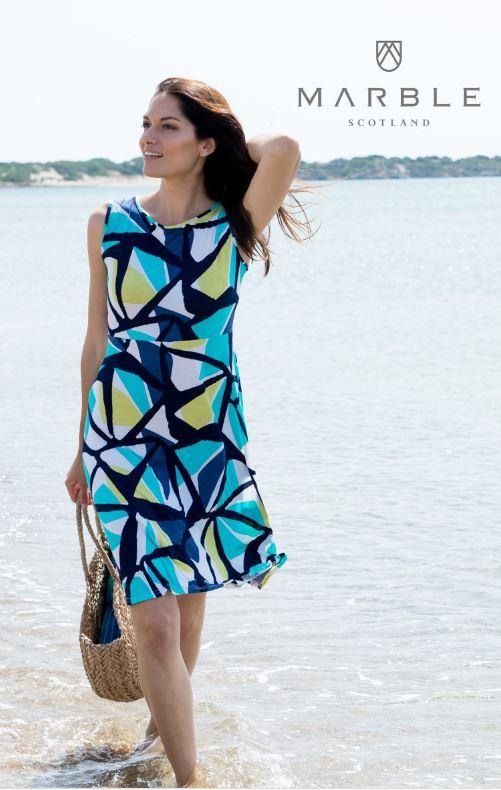 Marble Dress - Navy Multi