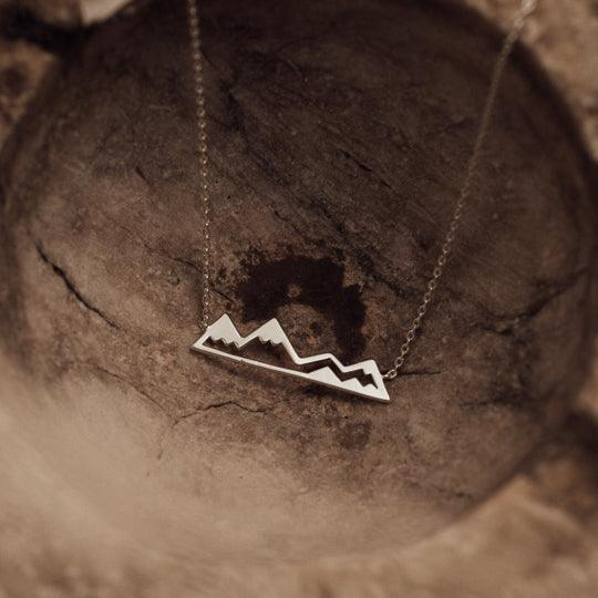 Olympic mountain necklace - silver
