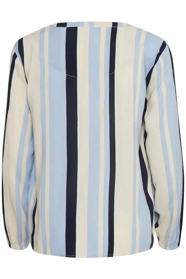 B Young sky blue combo blouse with vertical stripes