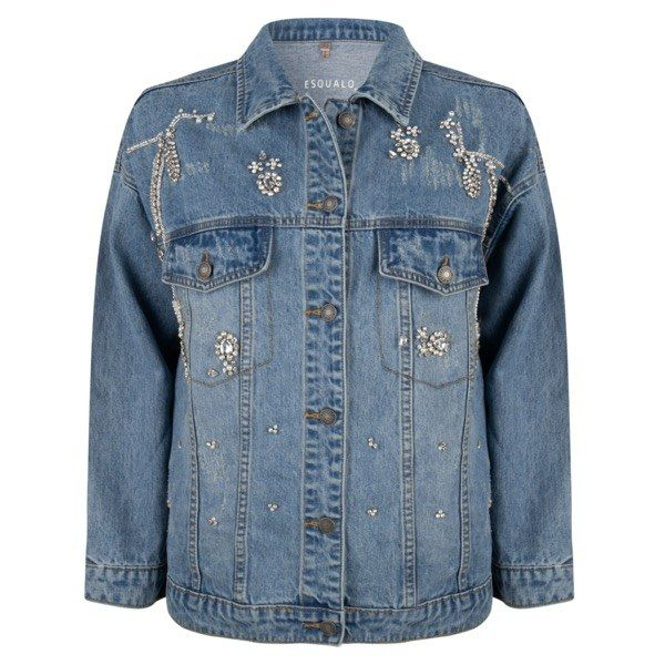 Esqualo Blue Embellished Jean Jacket