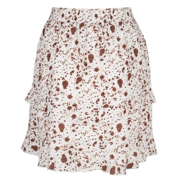 Esqualo Beige Print Skirt W/ Small Brown Flower