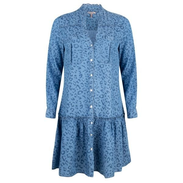Esqualo Blue Animal Print Ruffle Tencel Dress
