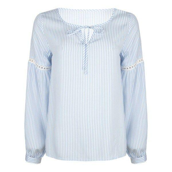 Esqualo Blue Striped Lace Tape Blouse