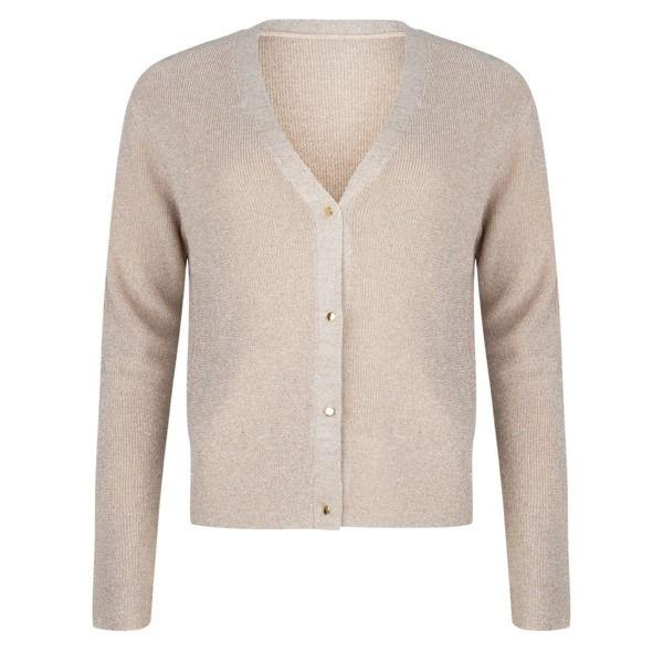 Esqualo Sand Lurex Button Up Cardi