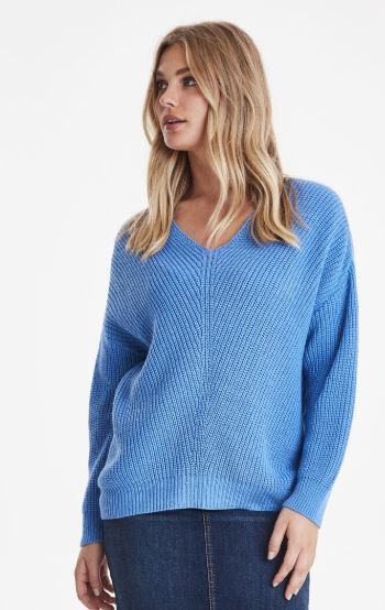 B Young regatta blue v neck sweater knit