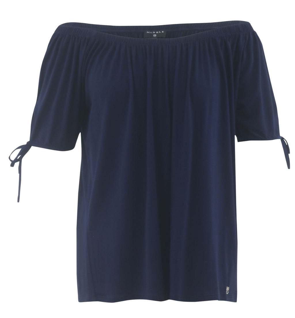 Marble Jersey OTS Top W/ Tie sleeves - Navy