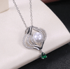Simulated Pearl Paved Zircon Green Water Drop Pendent Fashion Necklace
