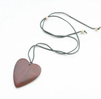 Rust Wooden Heart Necklace