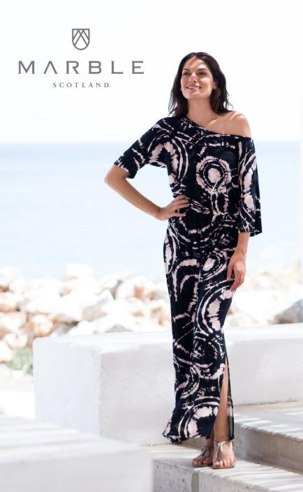 Marble Maxi Dress Black/Pink TieDye