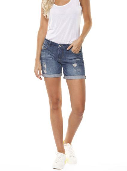 Dex destructed indigo woven boyfriend shorts