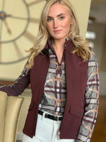 Plaid & Leathers Quarter Zip, Raisin