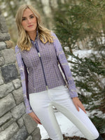 Modern Plaid & Leathers Quarter Zip, Nightshade