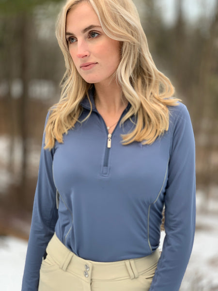 Long Sleeve Quarter Zip, Bluestone