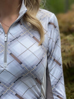 Hunter Plaid Quarter Zip w/Mesh, Champagne