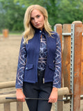 Ribbons & Reins Quarter Zip with Mesh, Navy