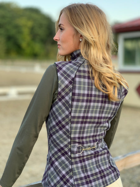 Wool Plaid Vest, Lavender/Slate