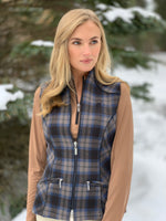 Wool Plaid Vest, Bluestone/Teak
